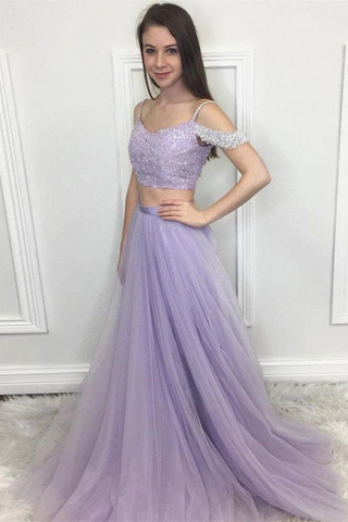 Charming Lilac Tulle Lace Sequins Short Sleeves Two Piece Long Senior Prom Dress Formal Dress,3343