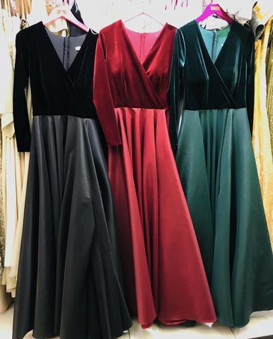 Velvet sleeves Prom dresses satin floor length,3347