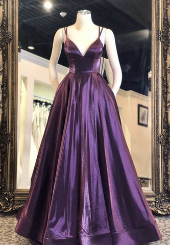 Purple Satin Long Prom Dress Evening Dress,3349