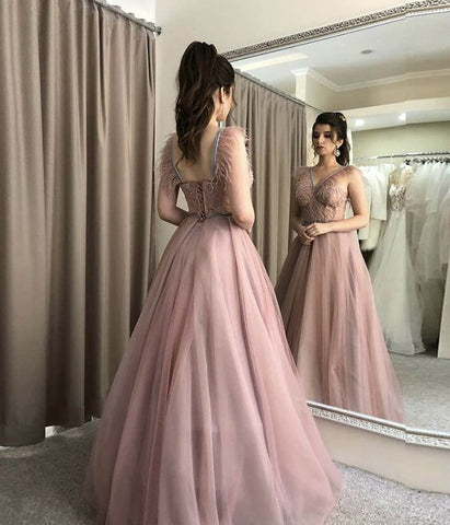 pink lace tulle long prom dress evening dress,3352
