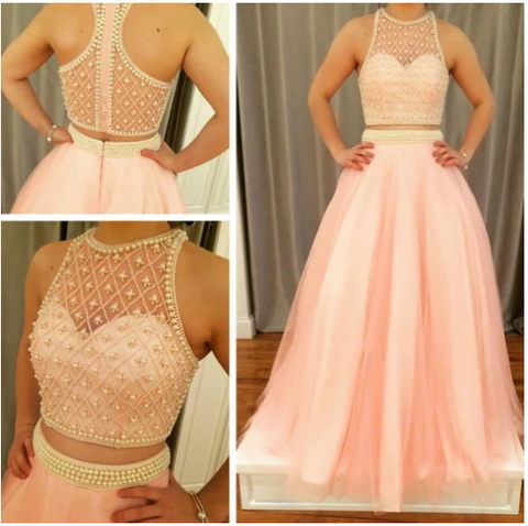 two pieces beaded pink A-line 2018 prom dress,3356
