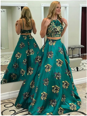 Elegant 2 Pieces Long Prom Dresses Spaghetti Straps Evening Dresses A-Line Formal Dresses,3360
