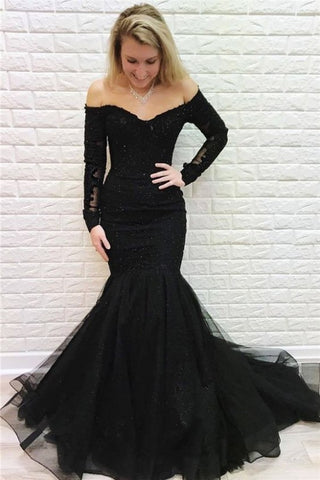 Mermaid Lace Long Black Prom Dress Formal Evening Dresses,3362