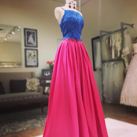 two piece prom dress,satin dress, 2 piece prom gowns,prom dresses lace crop top dresses,3365
