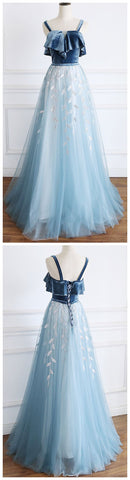 Tulle lace long prom dress, blue lace formal dress,evening dress,3367