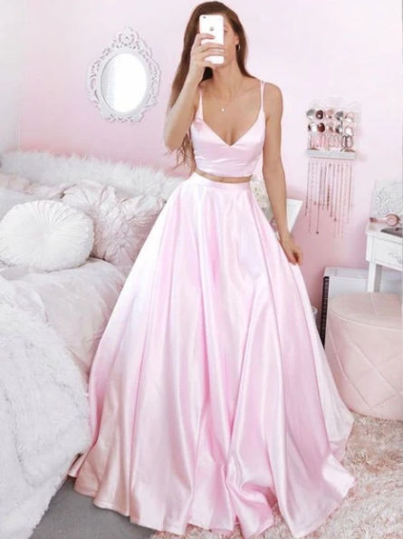 V Neck Two Pieces Pink Satin Long Prom Dresses, 2 Pieces Pink Formal Dresses, Pink Evening Dresses, Ball Gown,prom dress,prom dress,3394