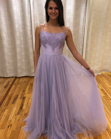 Strapless Prom Dress Tulle Backless Wedding Party Dress Lavender Spaghetti Straps,3433