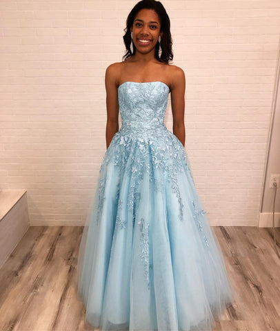 2019 Elegant Strapless Prom Dress Ice Blue Long Formal Gown With Lace Appliques,3437