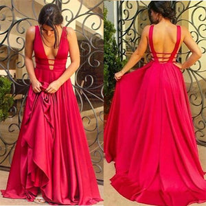 Sexy Floor-length A-Line Backless Deep V-Neck open-back formal dress, long prom dresses,3455