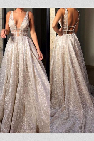 Cheap Sparkly Deep V Neck Wedding Dress Bridal Gown,Sequin Prom Dresses,3456