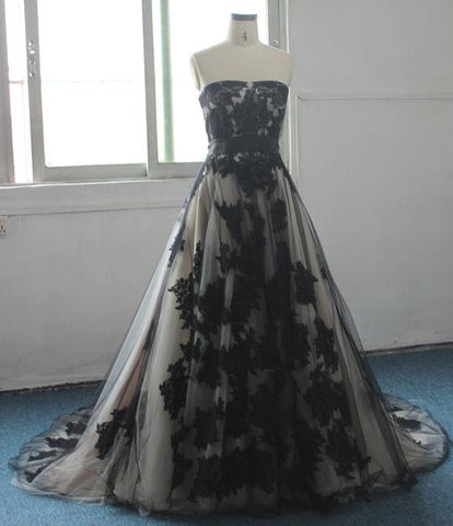 Fashion Strapless Sleeveless A Line Wedding Dresses With Black Lace Appliques,AP576