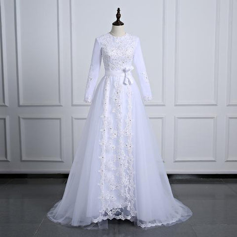 Long Sleeve Lace Applique Wedding Dresses A Line Long Bridal Dresses,AP575