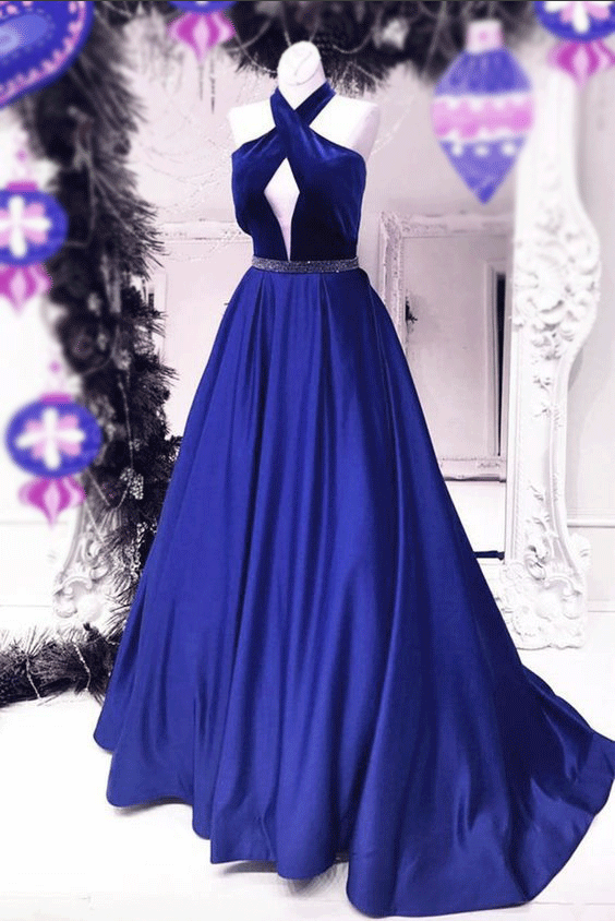 2019 Cheap Unique Royal Blue Charming Sexy Back Ball Gown Floor-Length Prom Dresses,3632