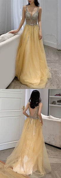 yellow prom dress tulle v neck evening gown sequin beaded,3659