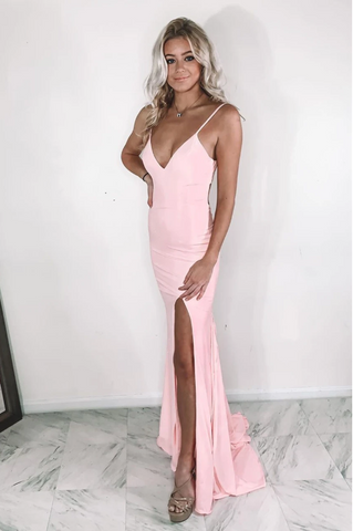 Sexy V Neck Mermaid Pink Prom Dress with Slit,3763