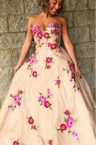 Sweetheart Champagne Long Prom Dress with Floral Embroidery,3821