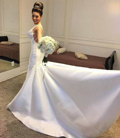 Simple Round Neck Backless Wedding Dresses Sleeveless Mermaid Bridal Gown,AP518