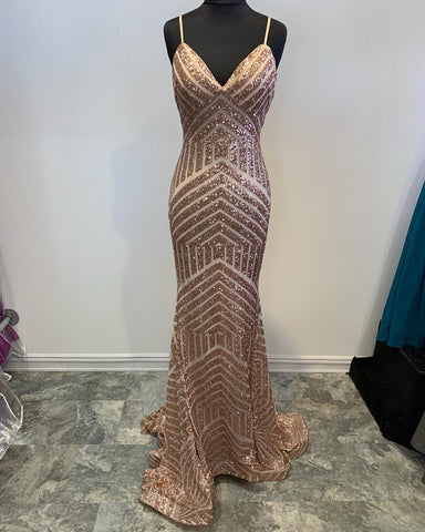 Straps Mermaid Rose Gold Sequined Evening Dress,3930