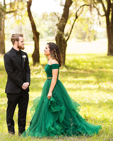 Off the Shoulder Green Two Piece Ball Gown,3950