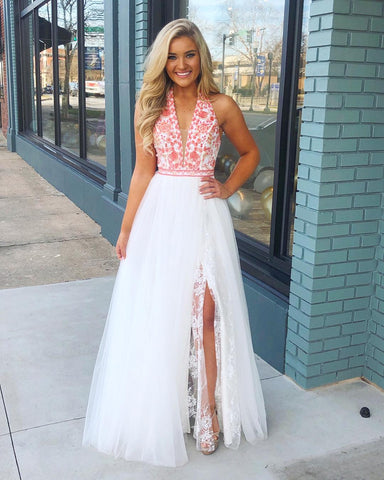 Halter White Long Prom Dress with Pink Embroidery,3961