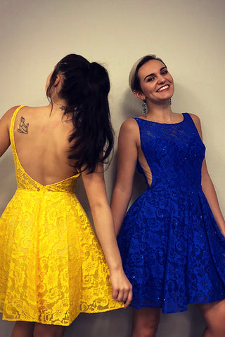 Yellow Lace Backless Short Homecoming Party Dress,4034