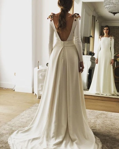 Elegant V Back Wedding Dresses Bridal Gown,4060