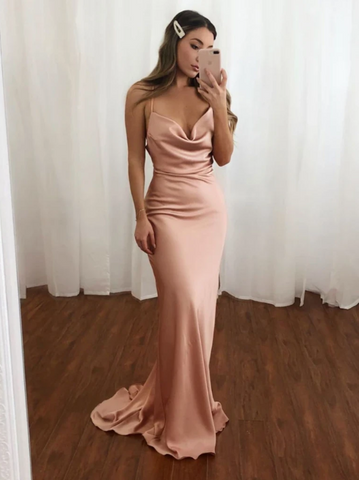 Simple V Neck Blush Mermaid Open Back Spaghetti Straps Long Prom Dresses, Open Back V Neck Blush Mermaid Formal Evening Dresses,4141