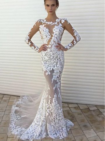 Sexy White Lace Mermaid See Through Long Sleeves Wedding Dress Prom Dresses Party Gown,4148