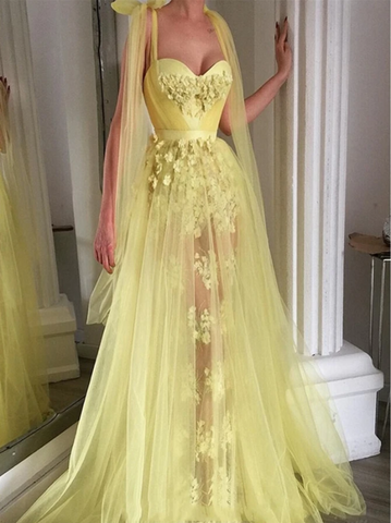 Yellow A Line Tulle Sweetheart Lace Applique Prom Dress,4208