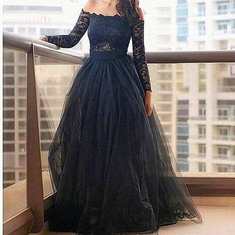 Simple tulle long prom dress black evening dress,4399