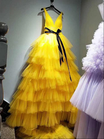 Yellow Tulle Prom Dress A Line Sleeveless Backless Prom Dresses ,4480