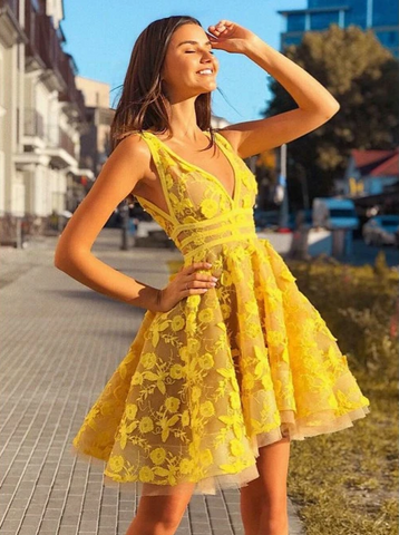 Yellow Lace Homecoming Dress Cheap Party V Neck Homecoming Dress,4538