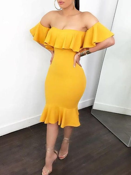 Sexy Flared Off Shoulder Bodycon Dress,4723