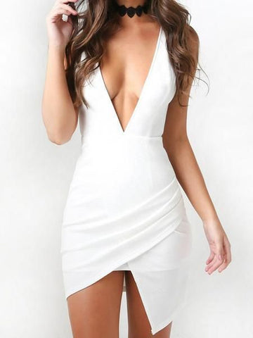 Unique White Deep V-Neck High-Low Short Homecoming Dresses,4923