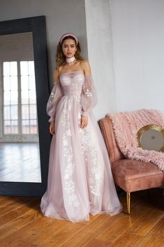 Blush pink wedding dress, bohemian off shoulder dress,4951