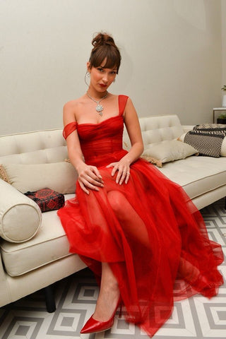 simple red sweetheart sleeveless tulle full length evening dresses,4954