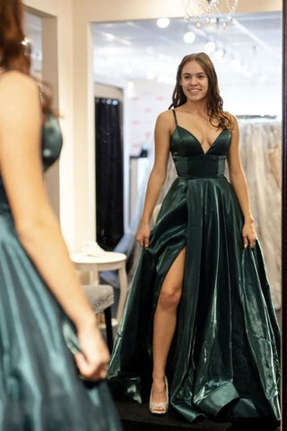 A Line V Neck Dark Green Satin Prom Dresses ,4958