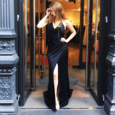 Spaghetti Sexy V-neck Front Slit Black Satin Chic Long Prom Dresses,4959