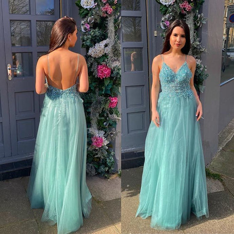Charming Prom Dress,Tulle Prom Gown,Spaghetti Straps Evening Dress,A-Line Prom Gown ,4960