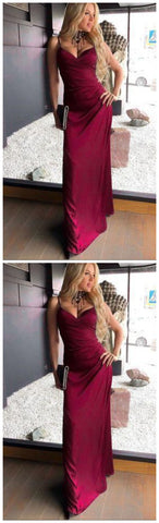 Burgundy Prom Dress,Satin Prom Dress,A-Line Prom Dress,Spaghetti Straps Prom Dress,4966
