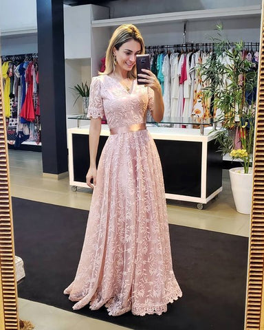 pink v neck short sleeves long prom dres with lace,4967