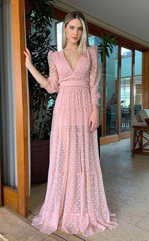 Pink V Neck Long Prom Dress ,Charming Dress,4968