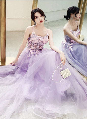 Charming Lavender Tulle Party Dress , Tulle A-line Prom Dress,4972