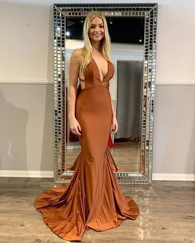 Hot Sexy Mermaid Deep V Neck Long Prom/Evening Dress Backless,4981