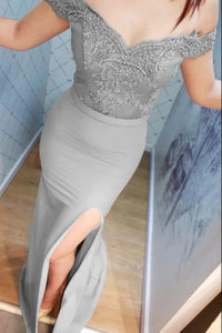 elegant gray prom dress,5002