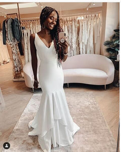 Beach Wedding Dresses Sexy Deep V Neck Simple Bridal Gowns ,5005