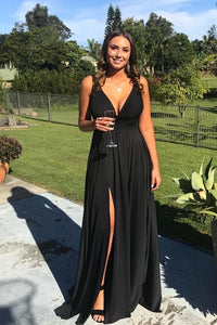 elegant v-neck black split prom party dresses ,5008