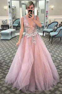 V-Neck Pink Long Prom Dress with Floral Embroidery,5011