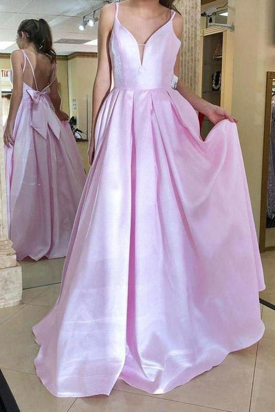 Spaghetti Straps Bowknot Long Pink Evening Dress,5013