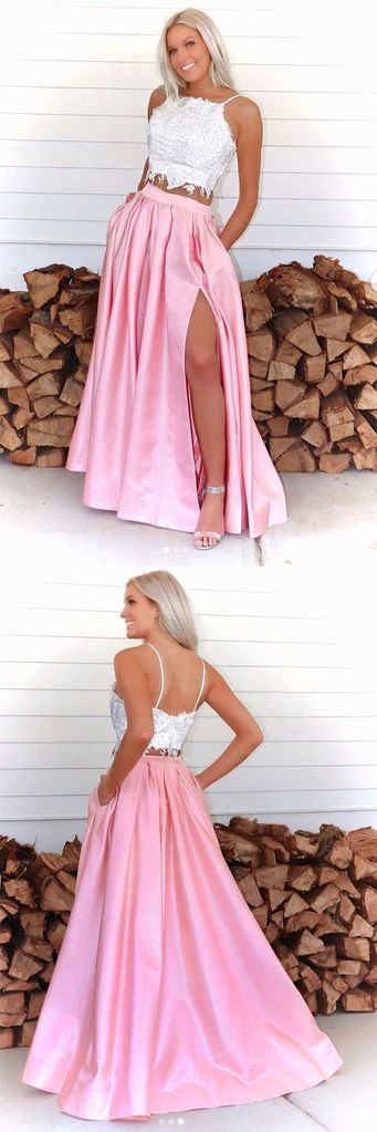 Pink two pieces lace long prom dress pink formal dress,5015